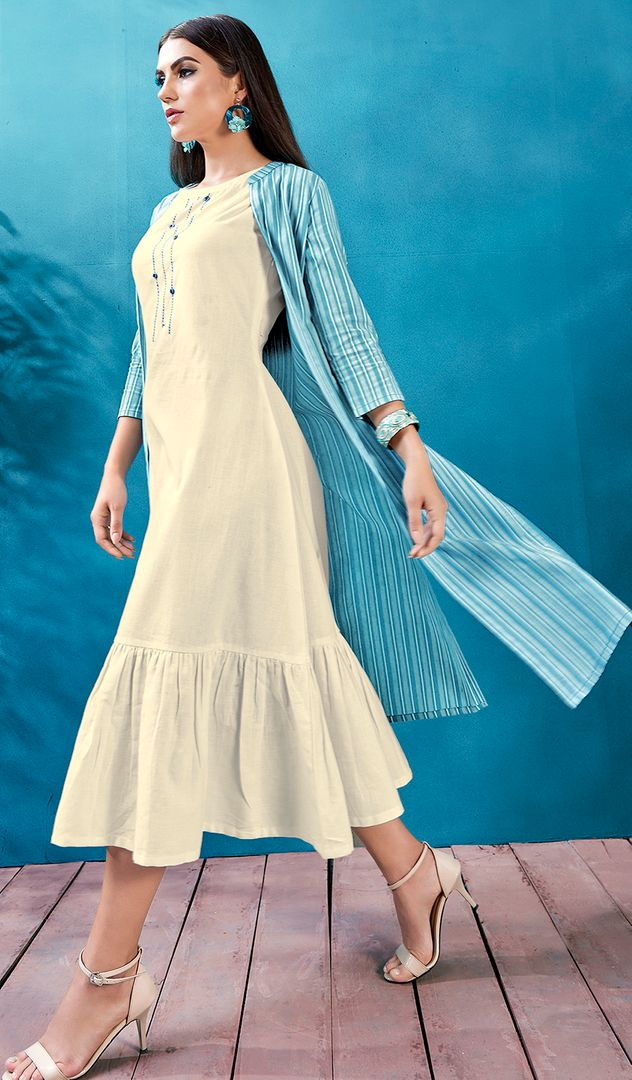 White Color Cotton Readymade Kurti With Jacket NYF-4616