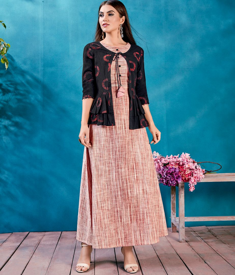 Rust Pink Color Handloom Cotton Readymade Kurti With Jacket NYF-4625
