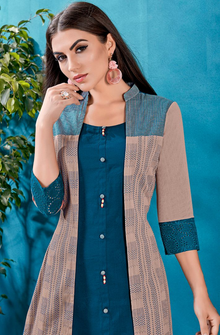 Blue Color Cotton Readymade Kurti With Jacket NYF-4628