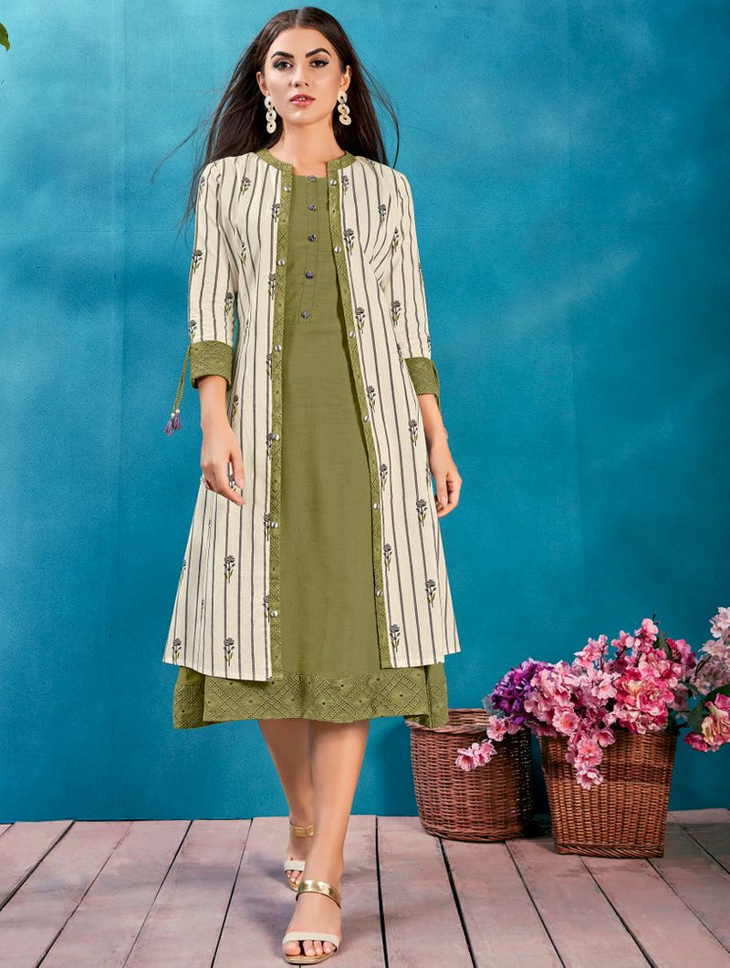Green Color Cotton Readymade Kurti With Jacket NYF-4634