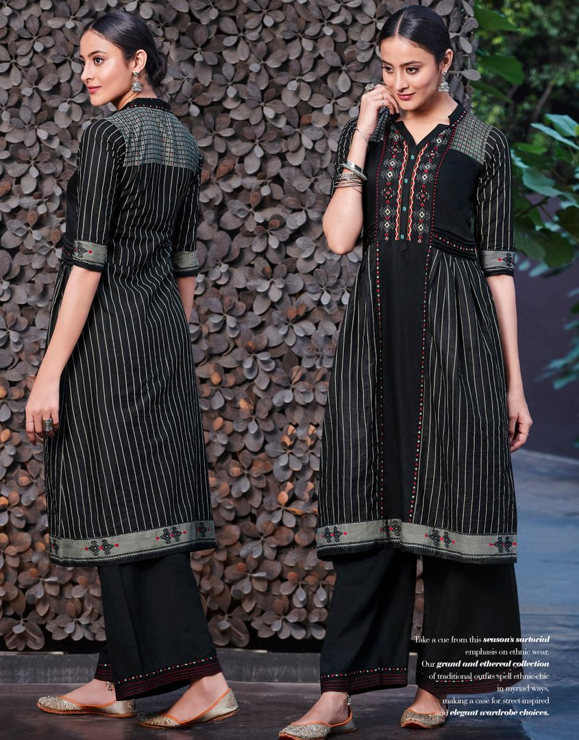 Black Color Satin Cotton Stunning Kurtis With Palazzo NYF-4293 - YellowFashion.in
