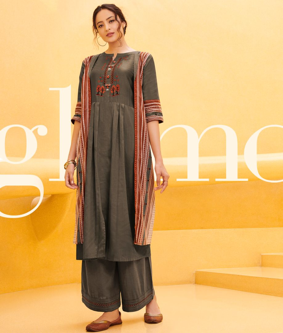 Grey Color Satin Cotton Stunning Kurtis With Palazzo NYF-4298 - YellowFashion.in