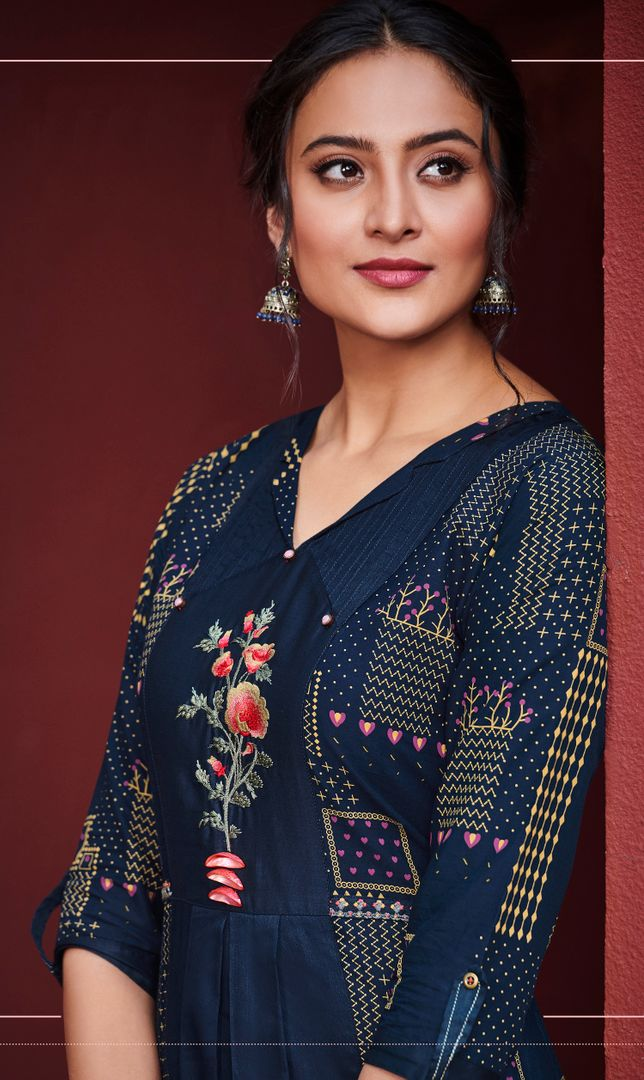 Blue Color Satin Cotton Stunning Kurtis With Palazzo NYF-4303 - YellowFashion.in