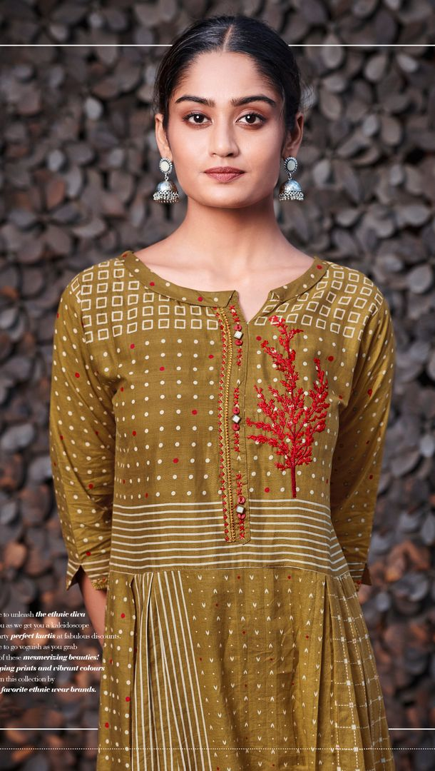 Olive Green Color Satin Cotton Stunning Kurtis With Palazzo NYF-4313 - YellowFashion.in