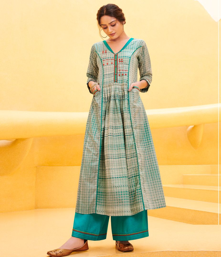 Cream & Firozi Color Satin Cotton Stunning Kurtis With Palazzo NYF-4318 - YellowFashion.in