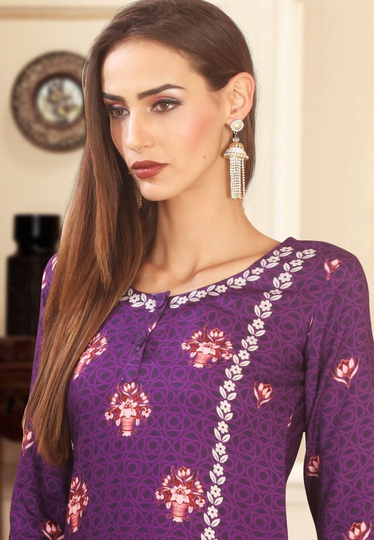 Purple Color Rayon Cotton Beautiful Kurtis With Palazzo NYF-4600