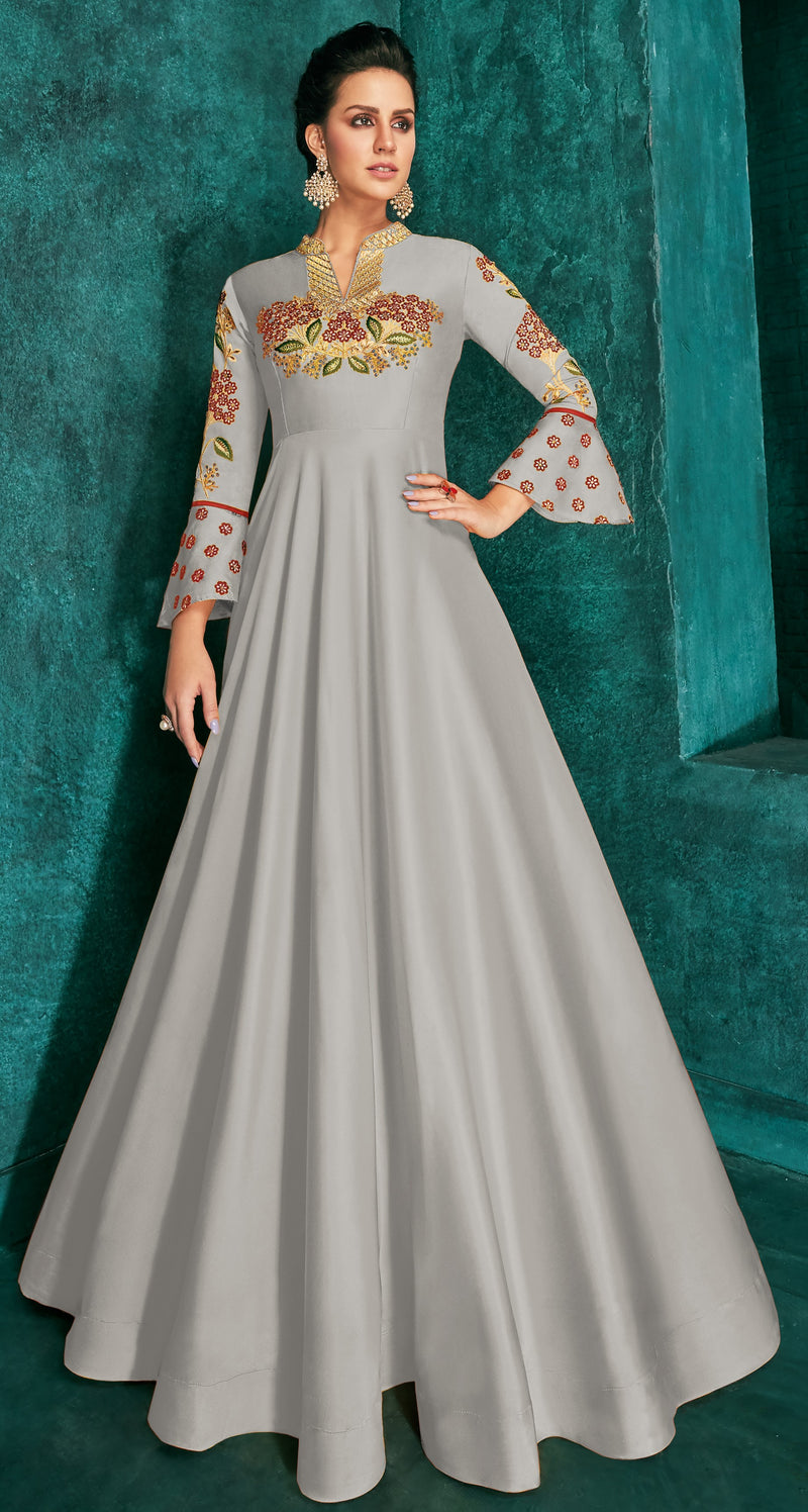 Grey Color Soft Art Silk Aesthetic Party Wear Gowns NYF-7092
