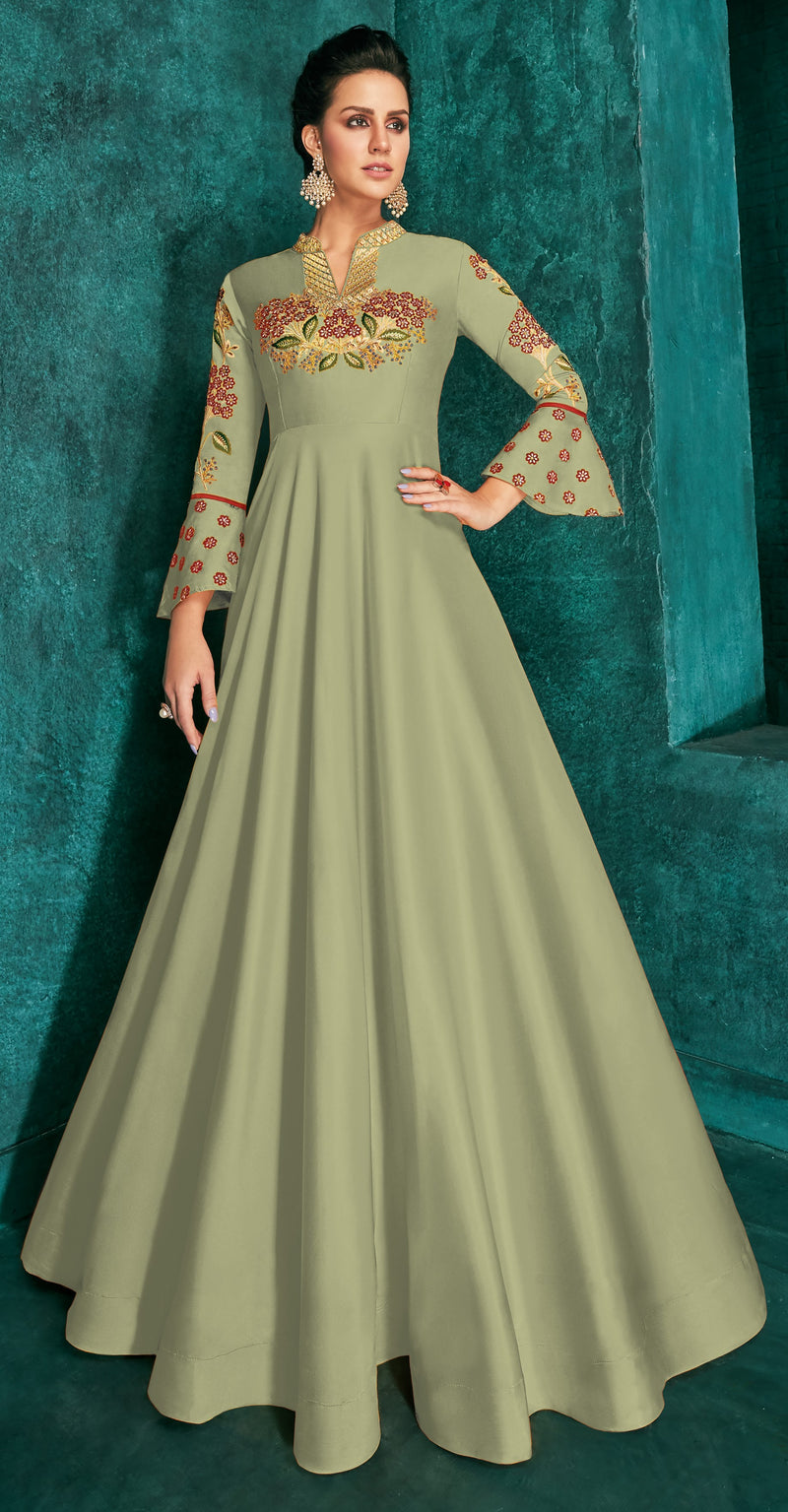 Pastel Green Color Soft Art Silk Aesthetic Party Wear Gowns NYF-7095