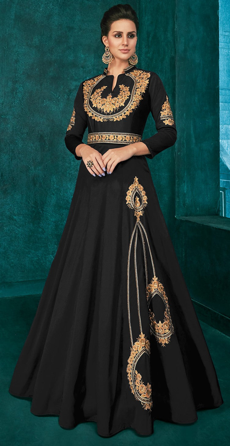 Black Color Soft Art Silk Aesthetic Party Wear Gowns NYF-7113
