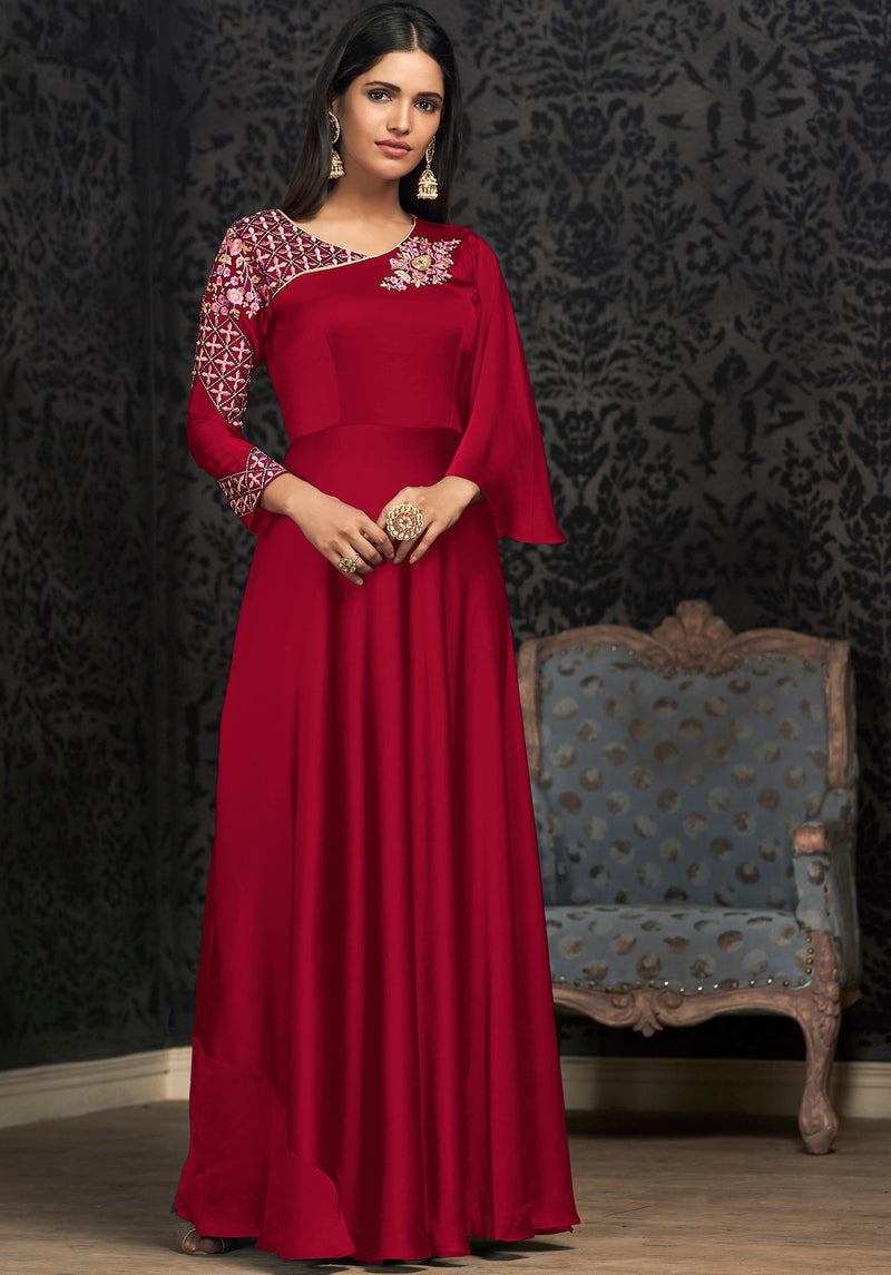 Reddish Pink Color Glowing Georgette Exquisite Festive Gowns NYF-7146