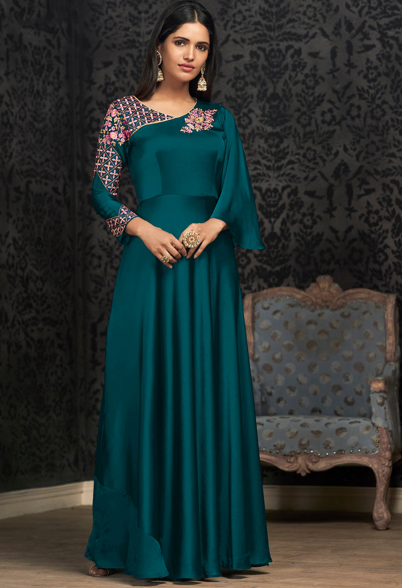 Rama Blue Color Glowing Georgette Exquisite Festive Gowns NYF-7149