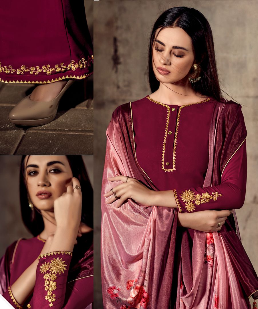 Magenta Color Georgette Beautiful Kurtis With Bottom & Dupatta NYF-4940