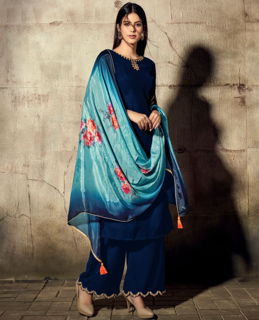 Blue Color Georgette Beautiful Kurtis With Bottom & Dupatta NYF-4944