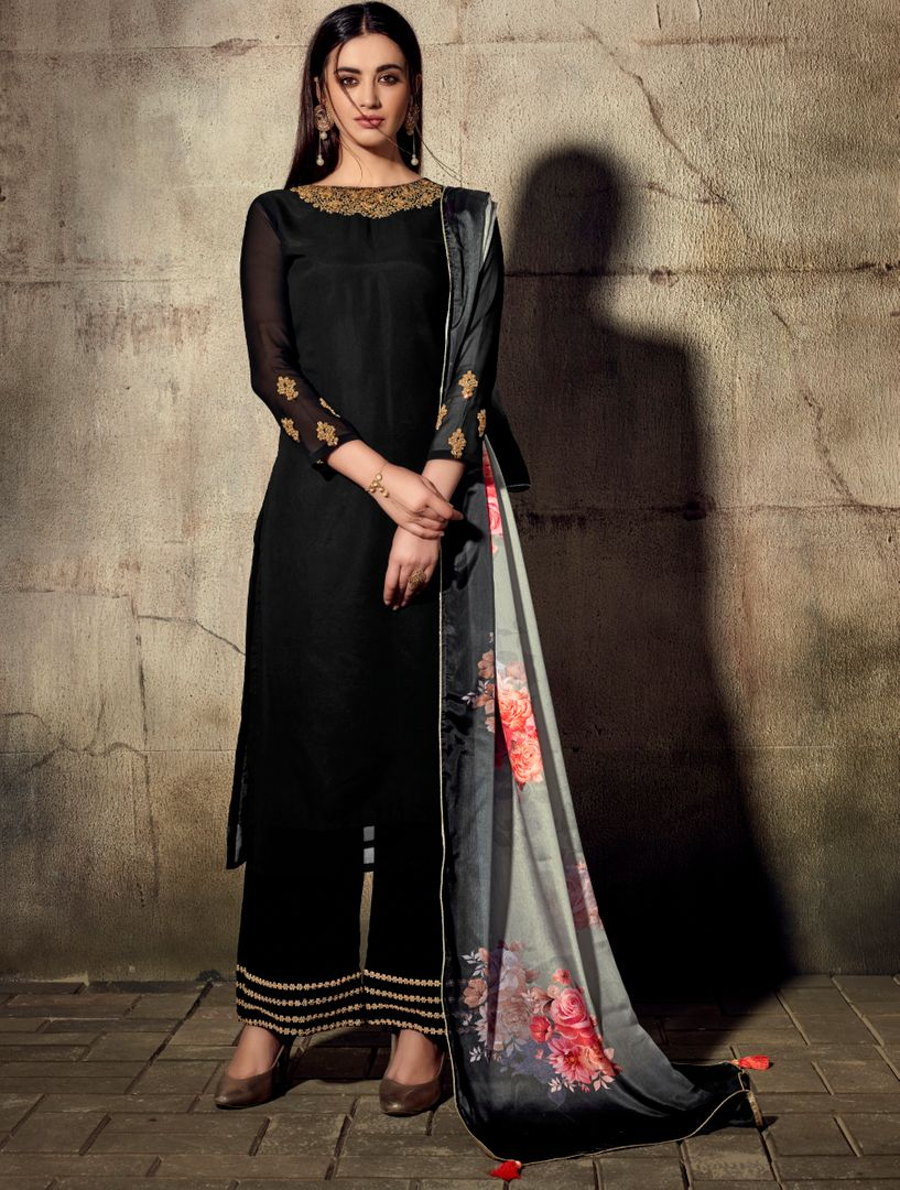 Black Color Georgette Beautiful Kurtis With Bottom & Dupatta NYF-4948