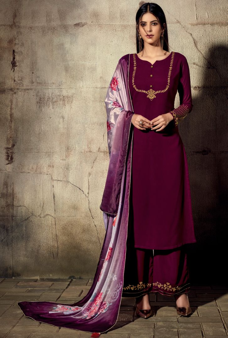 Wine Color Georgette Beautiful Kurtis With Bottom & Dupatta NYF-4956