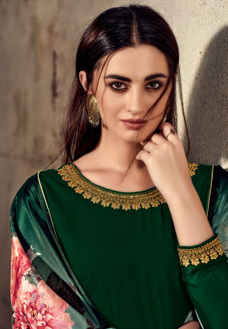 Green Color Georgette Beautiful Kurtis With Bottom & Dupatta NYF-4960