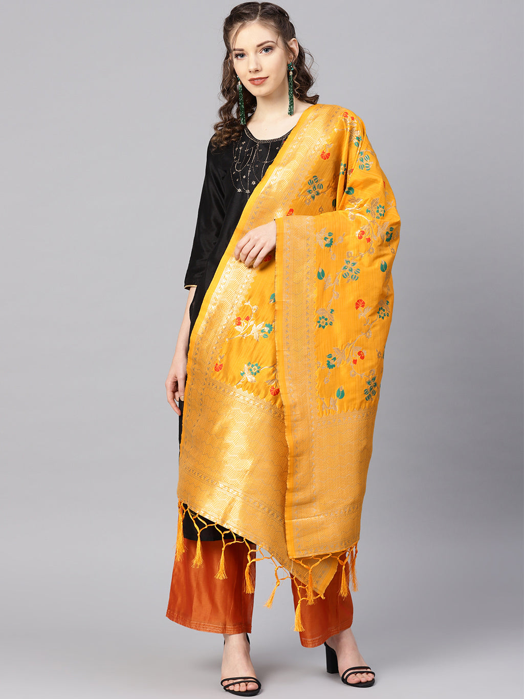 Yellow Color Banarasi Art Silk Elegant Function Wear Dupatta NYF-7555