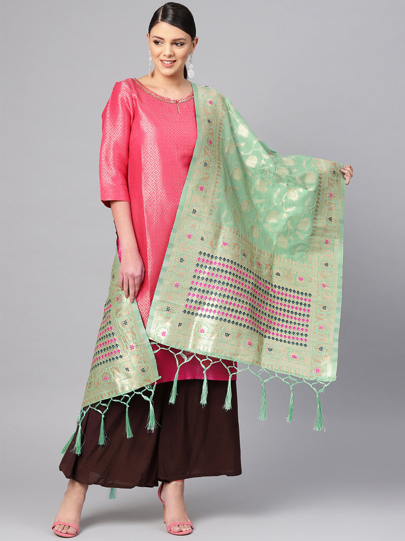 Pastel Green Color Banarasi Art Silk Festive Wear Dupatta NYF-7562
