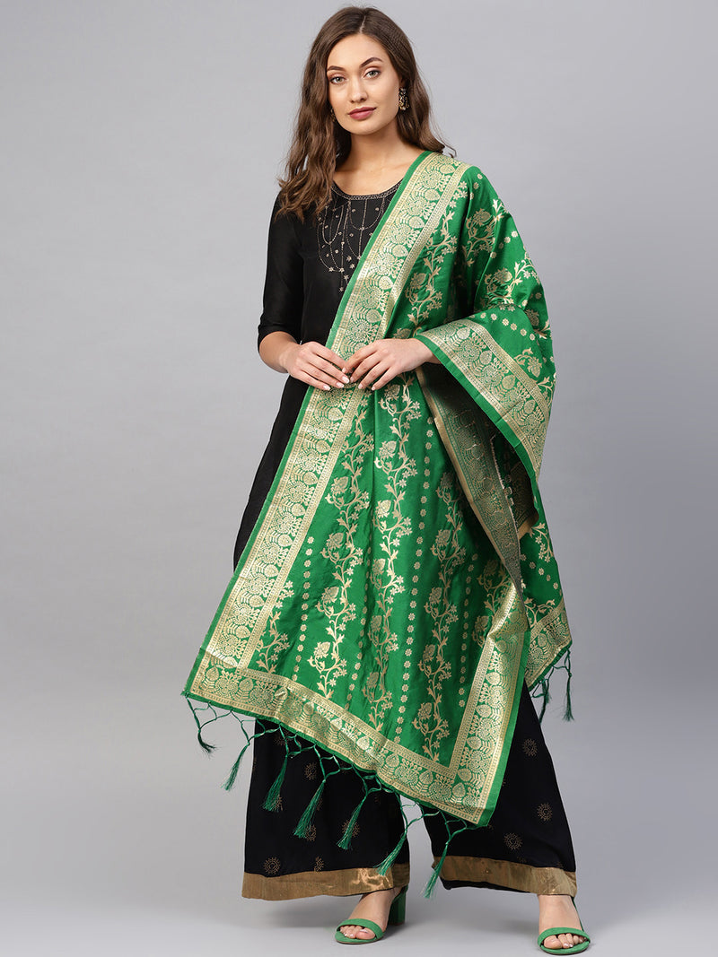 Green Color Banarasi Art Silk Event Wear Dupatta NYF-7582