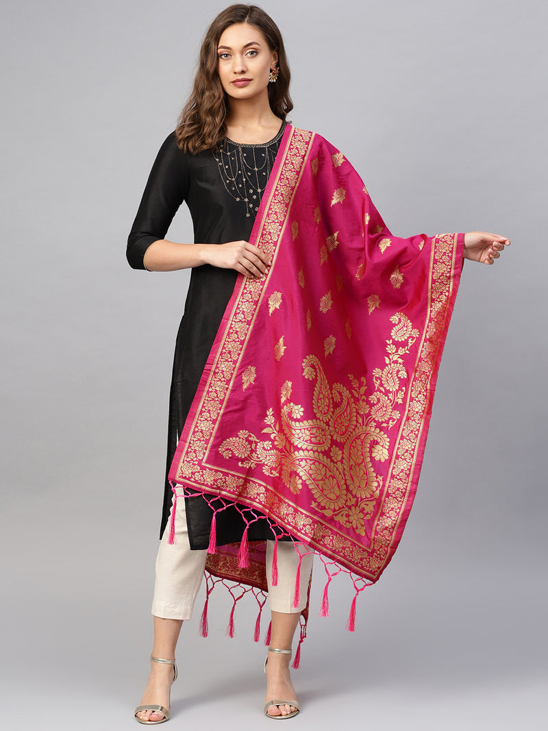 Pink Color Banarasi Art Silk Event Wear Dupatta NYF-7594