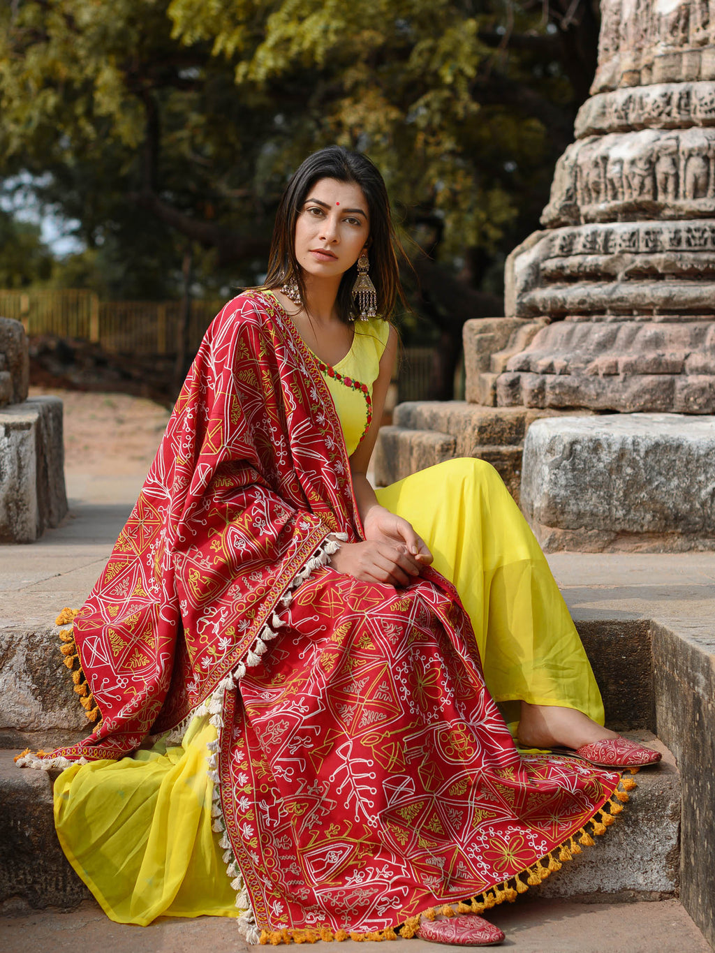 Red Color Khadi Party Wear Dupatta NYF-7598
