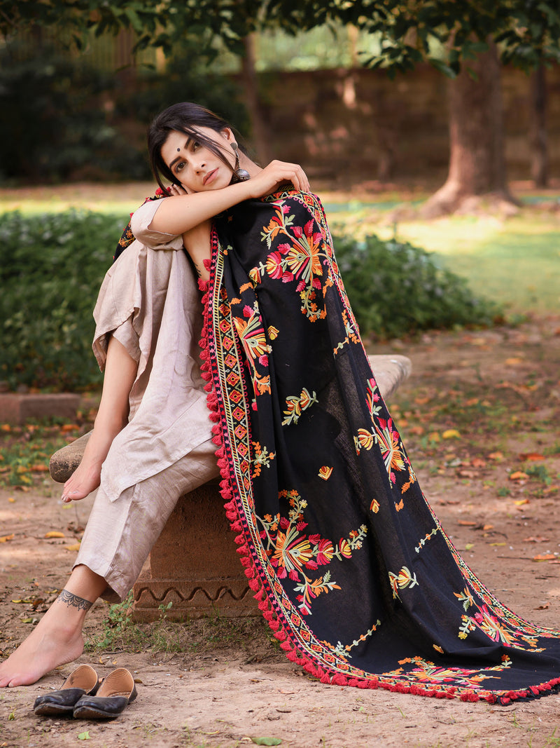 Black Color Khadi Party Wear Dupatta NYF-7600