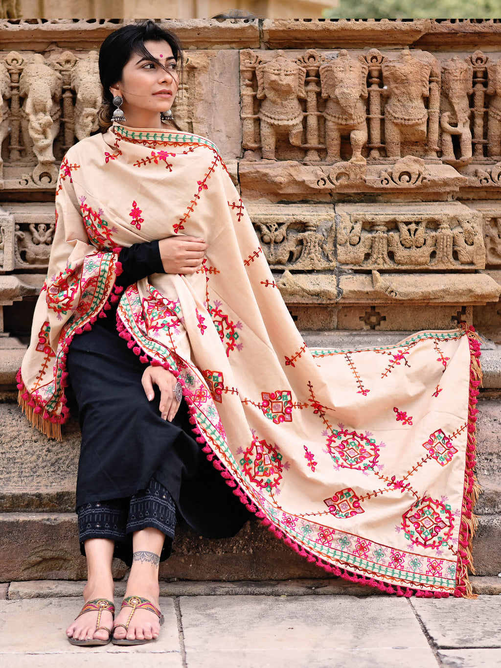 Beige Color Khadi Party Wear Dupatta NYF-7603