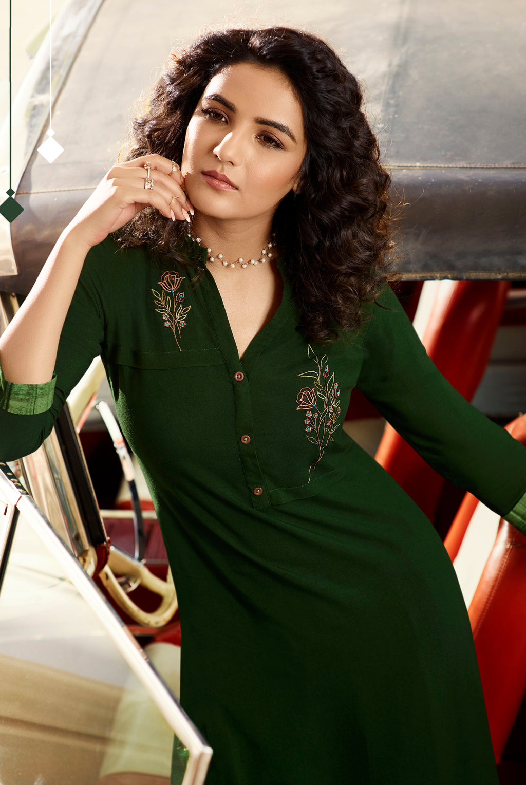 Bottle Green Color Rayon Lovely Kurtis With Palazzo NYF-5305