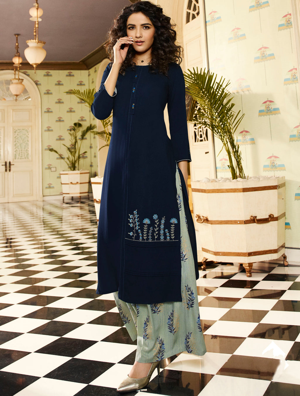 Blue Color Rayon Lovely Kurtis With Palazzo NYF-5317