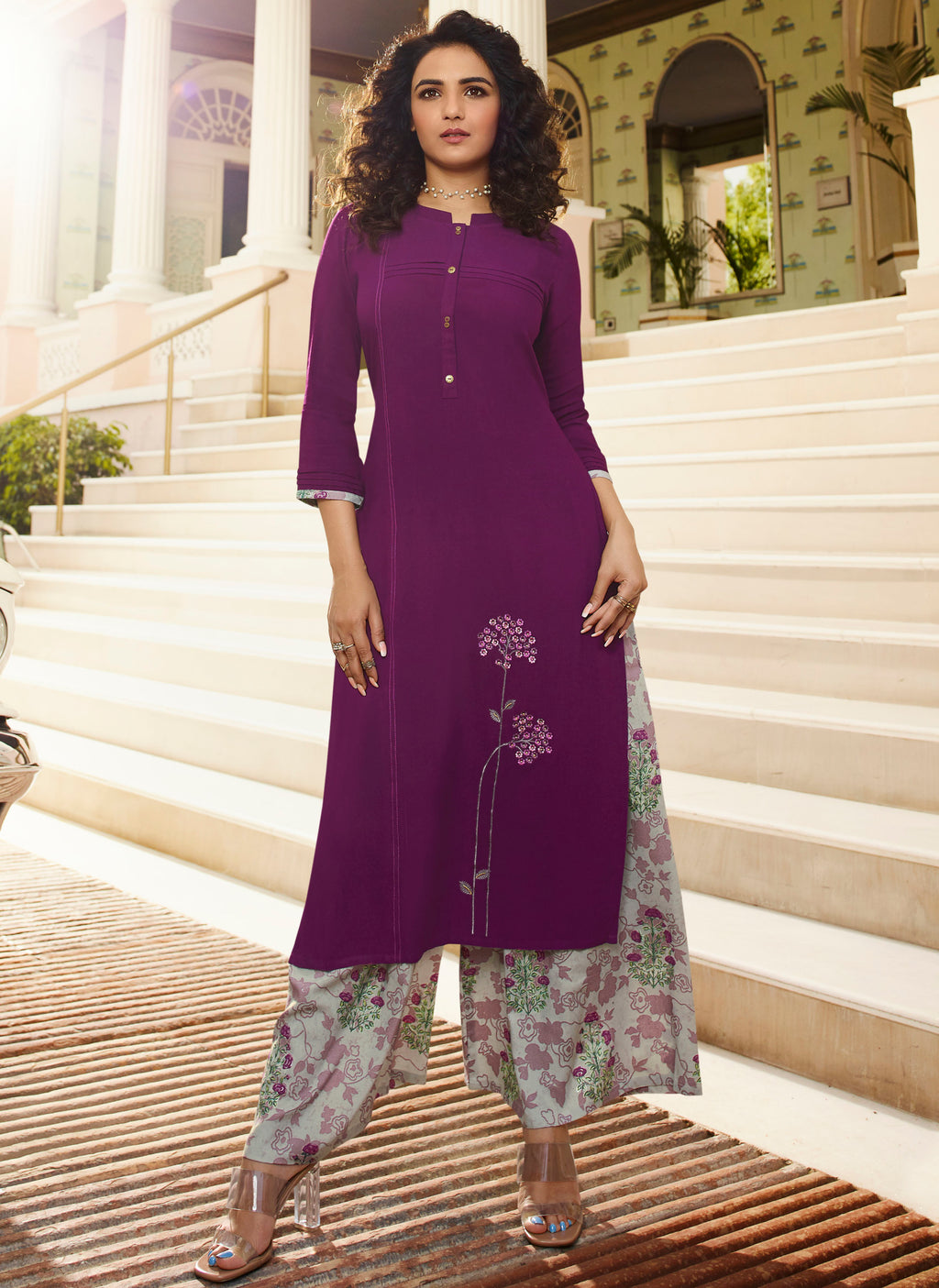Purple Color Rayon Lovely Kurtis With Palazzo NYF-5323