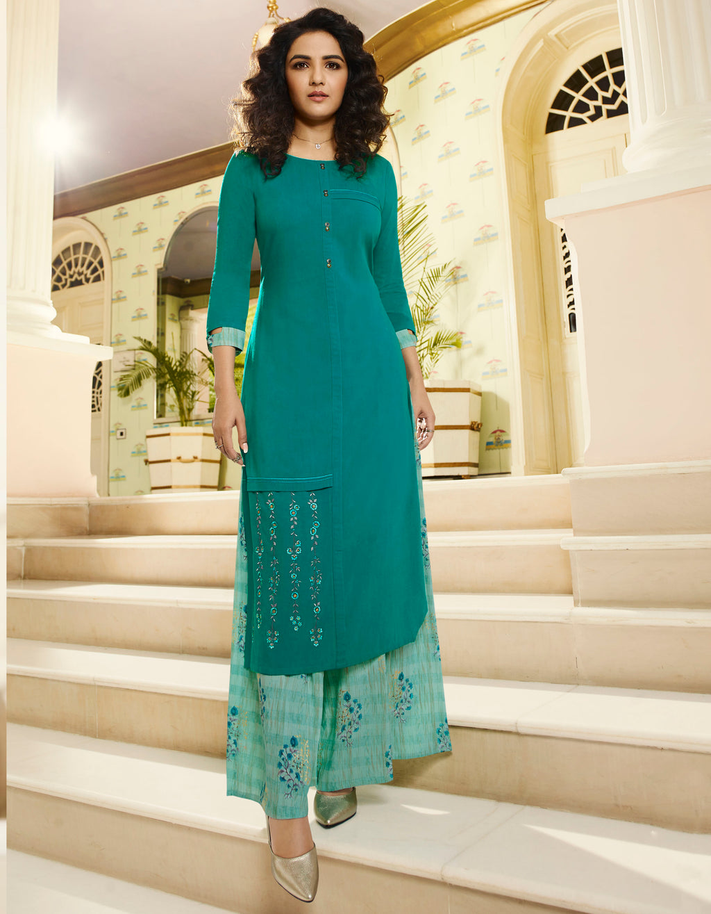Sea Green Color Rayon Lovely Kurtis With Palazzo NYF-5329