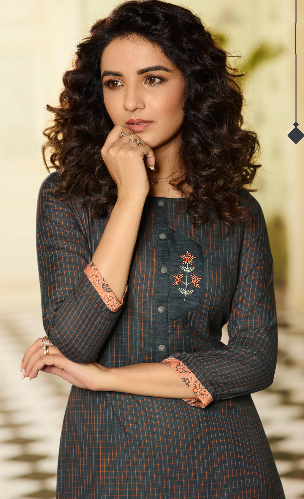 Dark Grey Color Rayon Lovely Kurtis With Palazzo NYF-5335