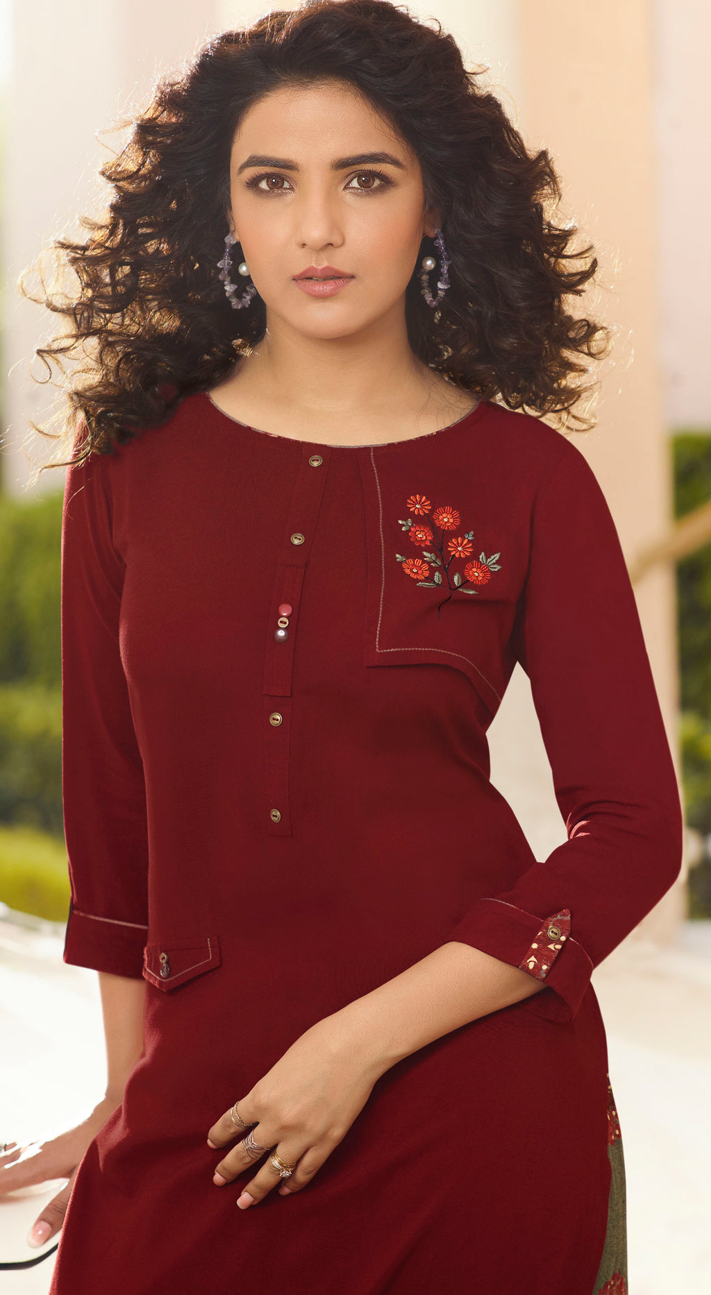Maroon Color Rayon Lovely Kurtis With Palazzo NYF-5341
