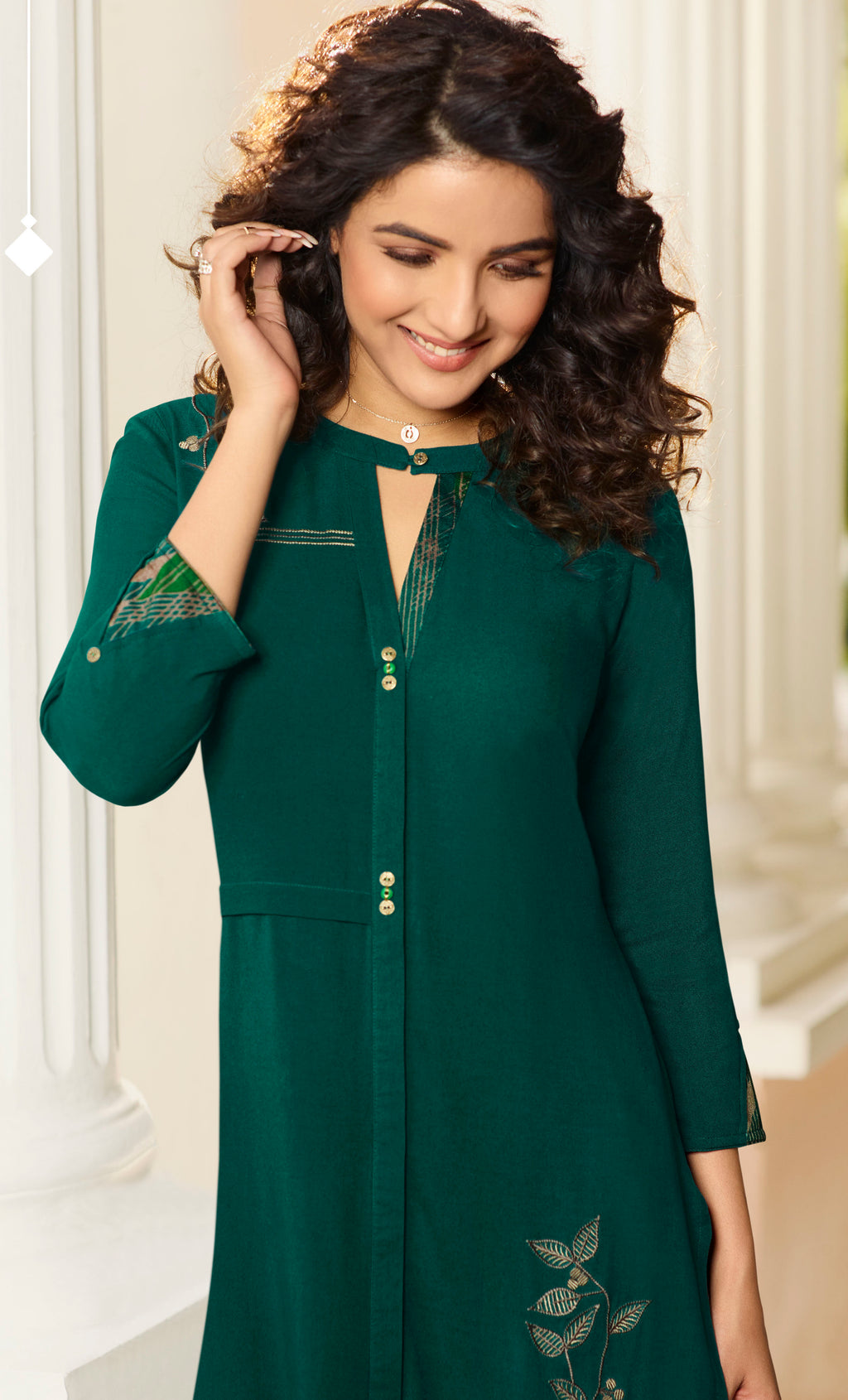 Green Color Rayon Lovely Kurtis With Palazzo NYF-5347