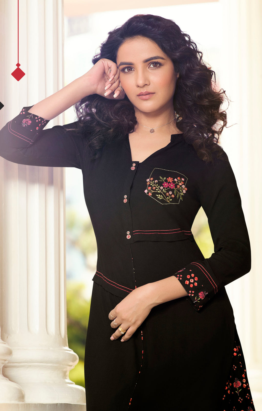 Black Color Rayon Lovely Kurtis With Palazzo NYF-5359