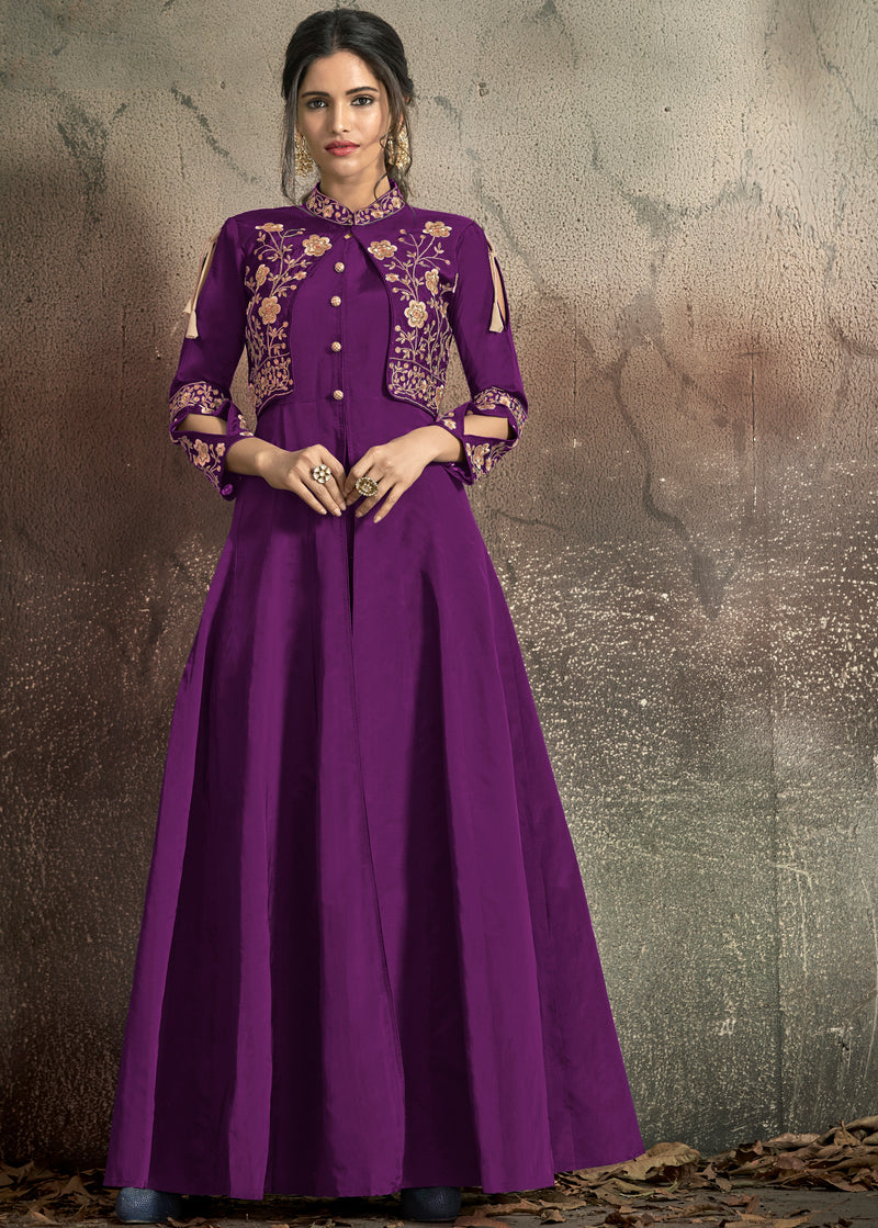 Purple Color Tafeta Art Silk Exquisite Party Wear Gowns NYF-7143