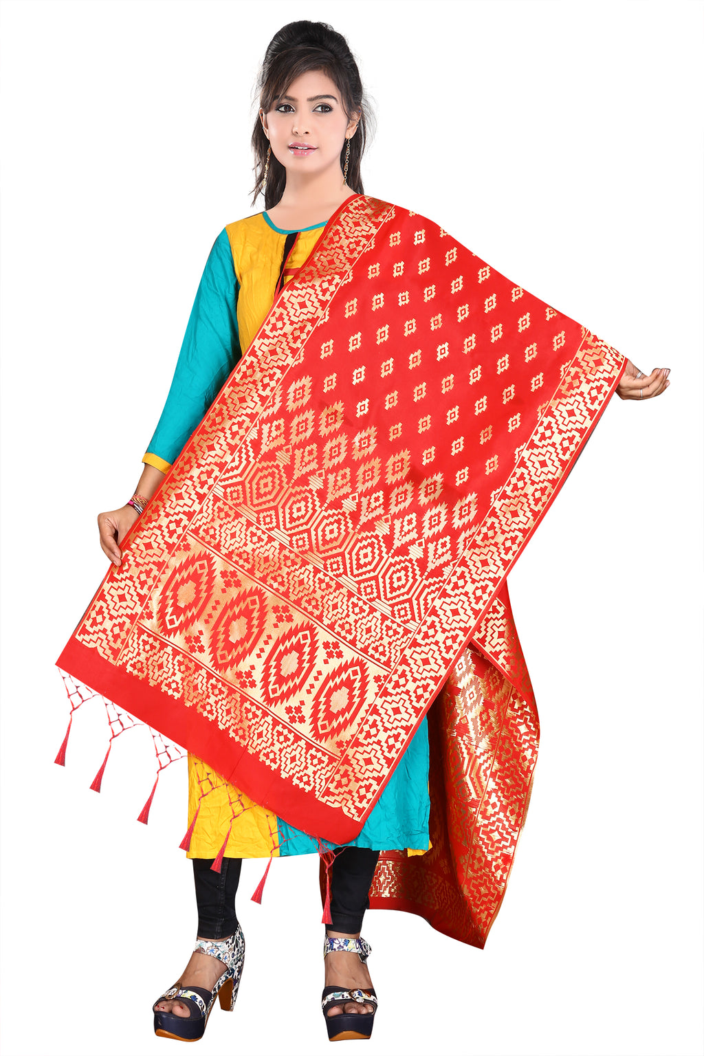 Red Color Banarasi Art Silk Party Wear Dupatta NYF-7579