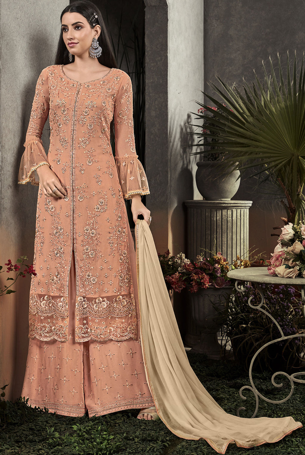 Peach Color Georgette Designer Semi Stiched Dress NYF-5251