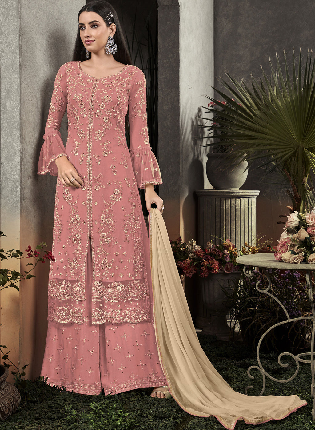 Pink Color Georgette Designer Semi Stiched Dress NYF-5252
