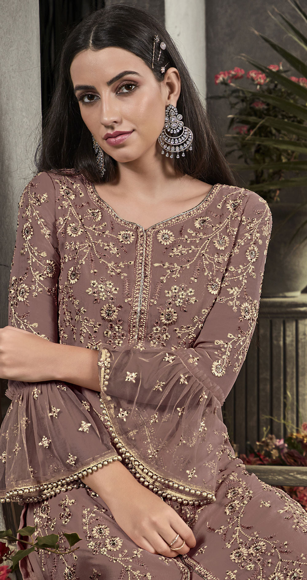 Burgandy Color Georgette Designer Semi Stiched Dress NYF-5253