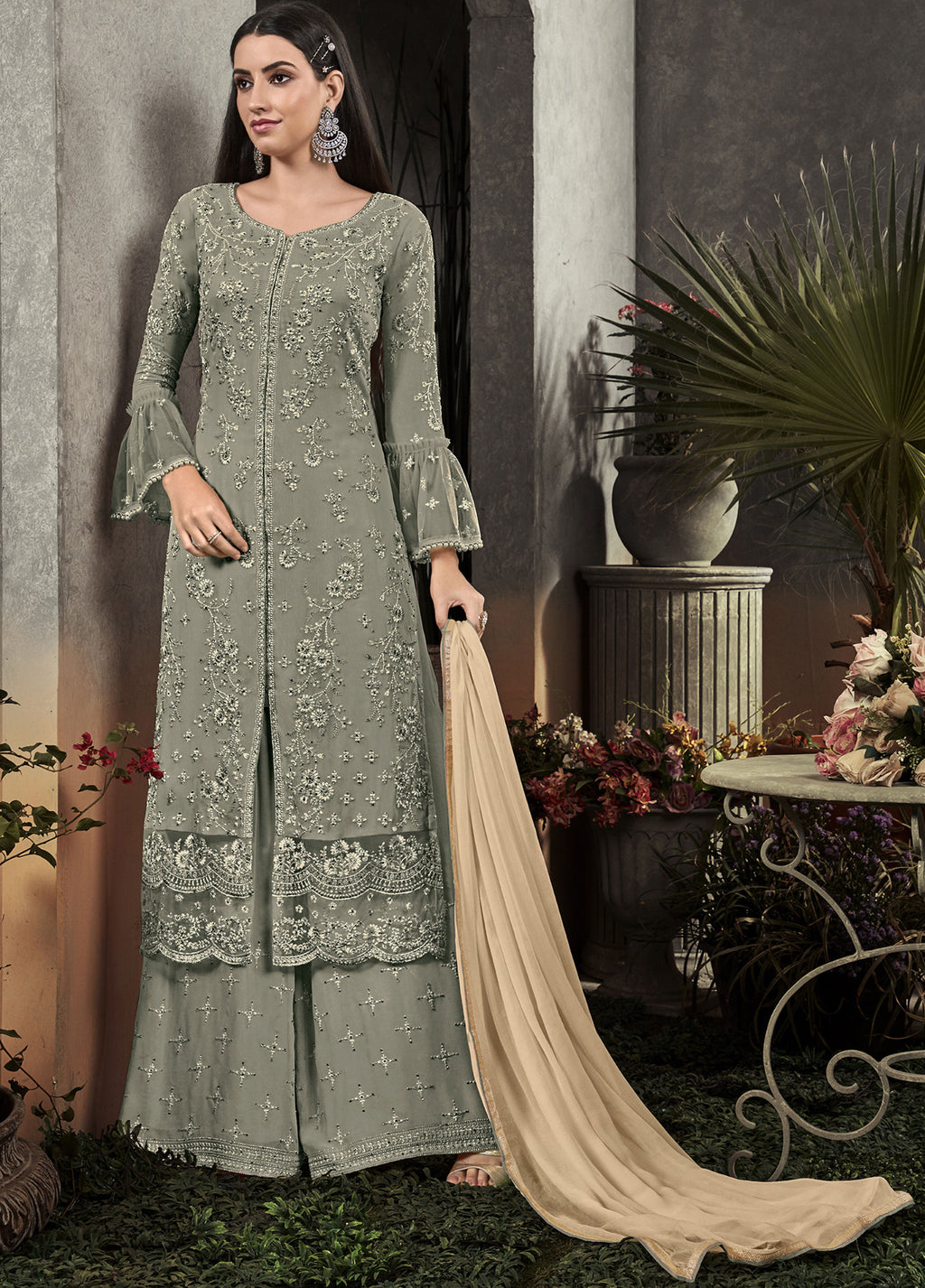 Greenish Grey Color Georgette Designer Semi Stiched Dress NYF-5254