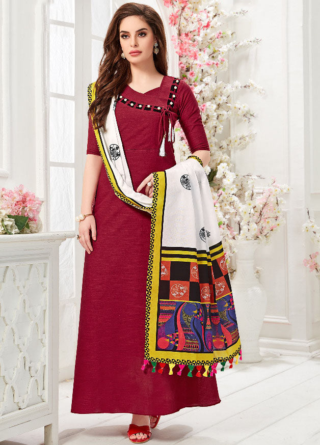 Maroon Color Slub Cotton Digital Print Gowns With Dupatta NYF-7174