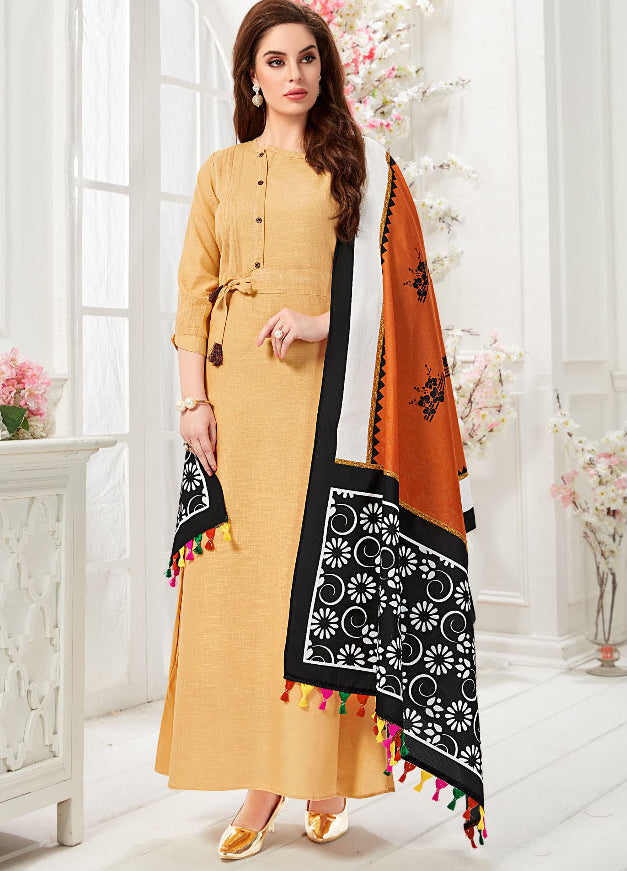 Beige Color Slub Cotton Digital Print Gowns With Dupatta NYF-7182