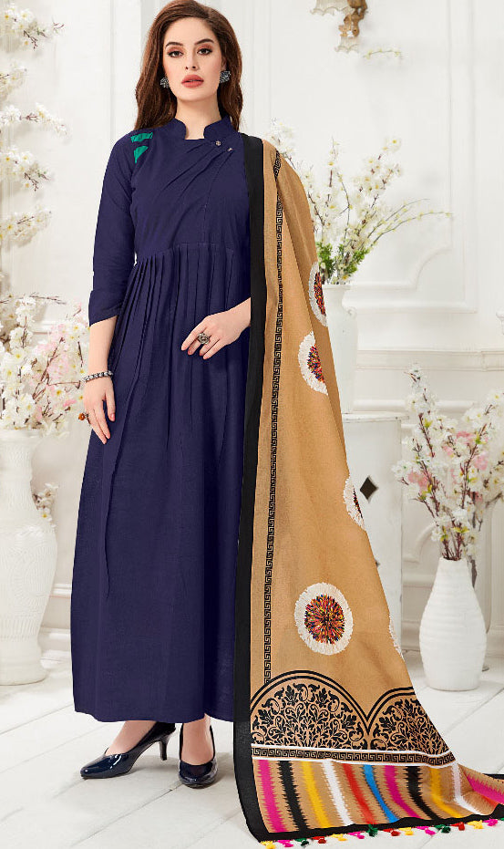 Navy Blue Color Slub Cotton Digital Print Gowns With Dupatta NYF-7194