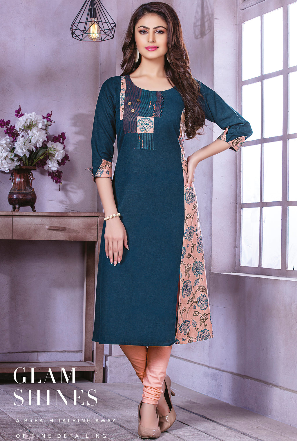 Blue Color Cotton Beautiful Party Wear Kurtis NYF-5494
