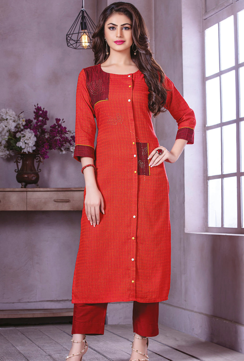 Red Color Rayon Beautiful Party Wear Kurtis NYF-5498