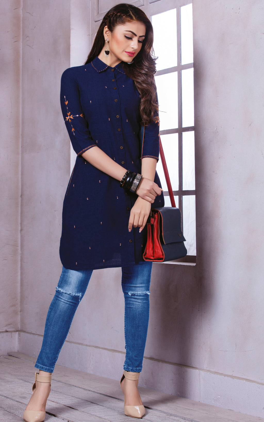 Blue Color Cotton Beautiful Party Wear Kurtis NYF-5502