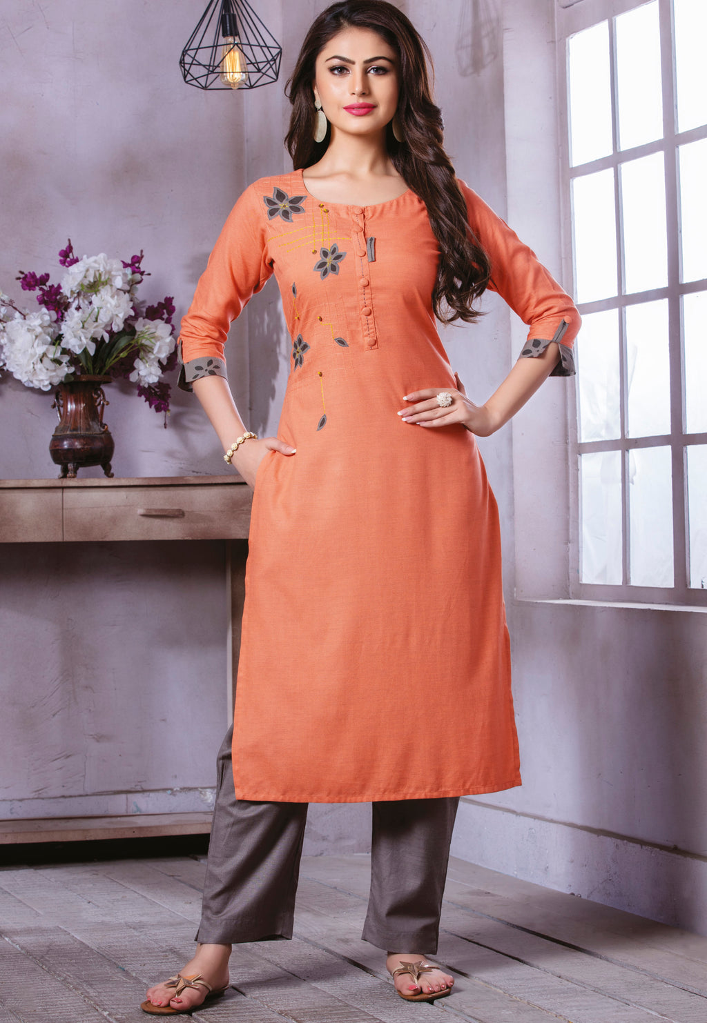 Peach Color Rayon Beautiful Party Wear Kurtis NYF-5506