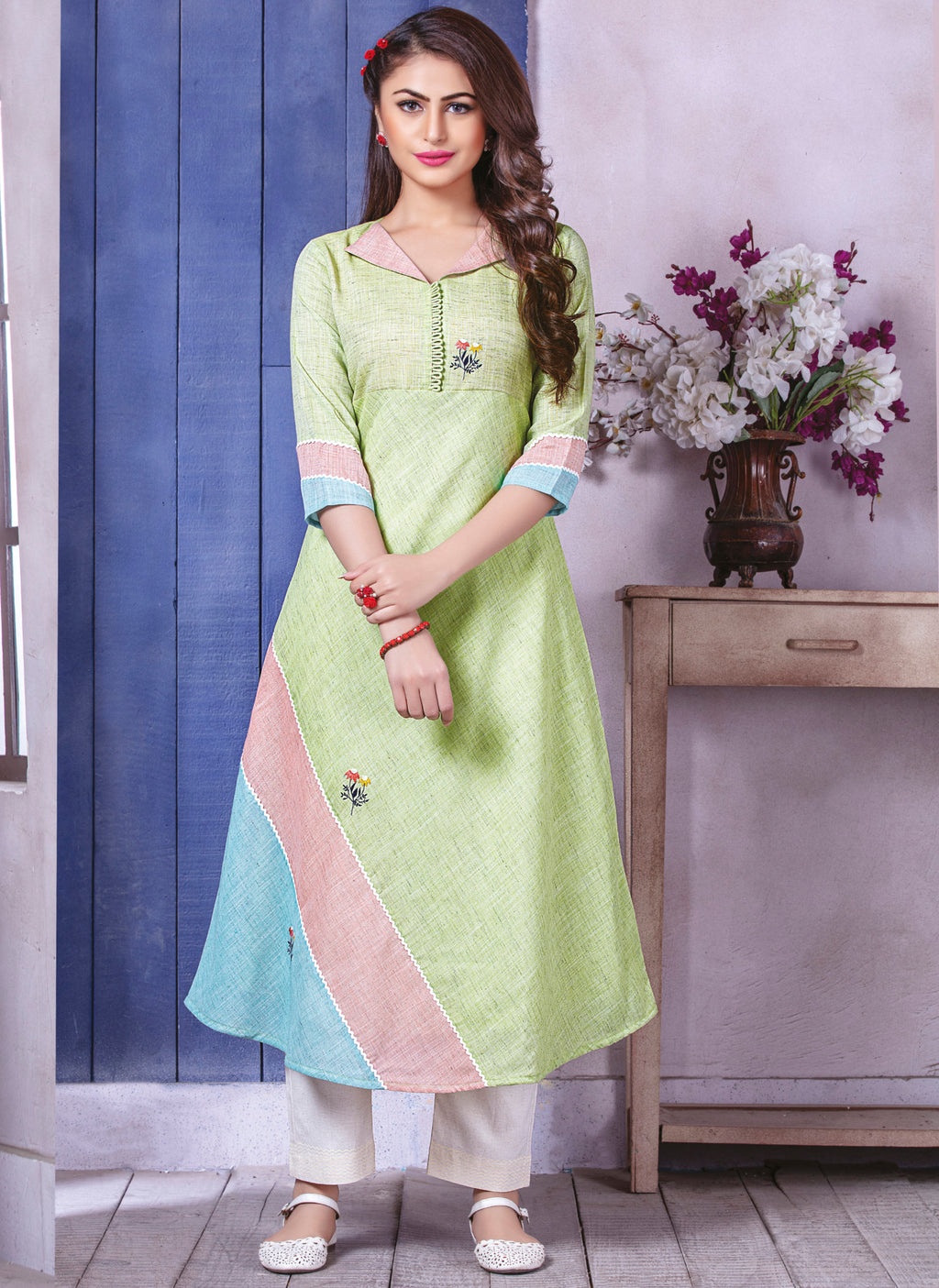 Pastel Green Color Linen Beautiful Party Wear Kurtis NYF-5510