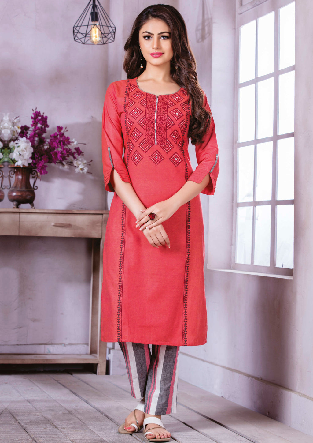 Pink Color Cotton Beautiful Party Wear Kurtis NYF-5514